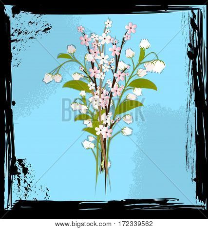 black background with blue abstract and colored fantasy bouquet of flowers