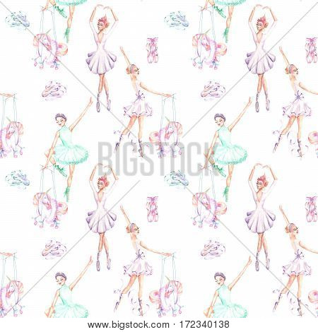 Seamless pattern with watercolor ballet dancers, puppet unicorns and pointe shoes, hand drawn isolated on a white background