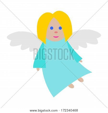 New Year big angel isolated. Light blue long dress. Fair hair and blue eyes. Small flying girl. White straightened wings. Simple cartoon style. Flat design. Comic illustration in 80s 90s style. Vector