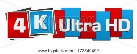 4K ultra HD text alphabets written over pink blue background.
