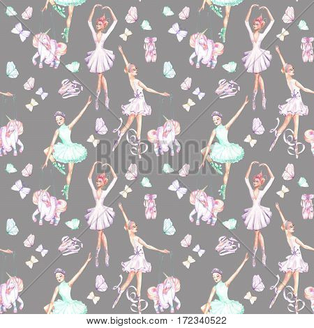 Seamless pattern with watercolor ballet dancers, puppet unicorns, butterflies and pointe shoes, hand drawn isolated on a grey background