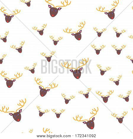 Deer head seamless pattern. Brown oval face with blue eyes and red mouth. Yellow long ramified horns. Cartoon style. New Year toy in fat style. Wallpaper design endless texture. Vector illustration
