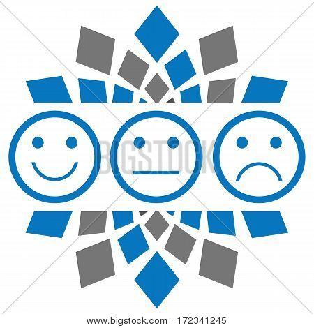 Smile neutral sad faces over blue grey background.