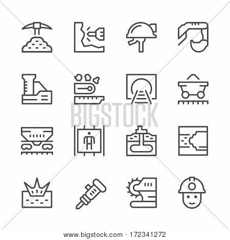 Set line icons of mining isolated on white. Vector illustration