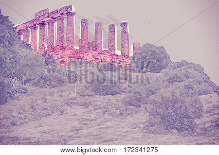 Temple of Juno - ancient Greek landmark in the Valle dei Templi outside Agrigento, Sicily. Modern Painting. Brushed artwork based on photo. Background texture.