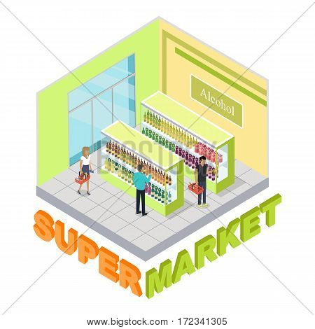 Supermarket. Alcohol department. Shop inside. Green and yellow walls. Two stand with alcoholic beverages. People with carts choosing drinks. Shopping. Simple cartoon style. Flat design. Vector