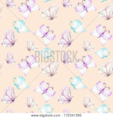 Seamless pattern with watercolor tender purple and mint butterflies, hand drawn isolated on a pink background