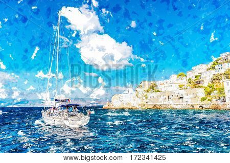 Hydra island on a summer day in Greece. Beautiful landscape with sea and island, and a boat sailing. Modern Painting. Brushed artwork based on photo. Background texture.