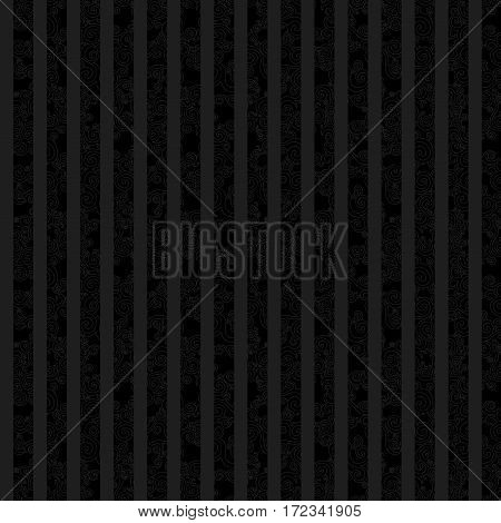 Vintage Seamless Texture With Swirls And Vertical Strips. Black Pattern.