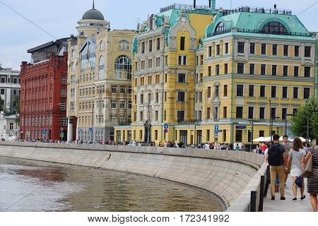MOSCOW, RUSSIA - 2 July 2016 Houses on the waterfront Yakimanskaya