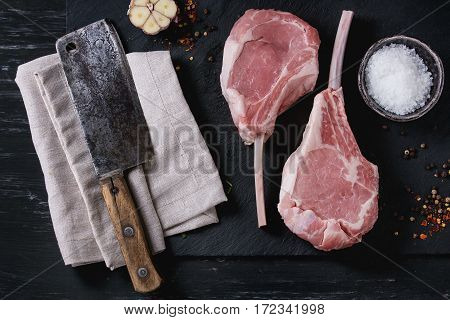 Raw Veal Tomahawk Steak