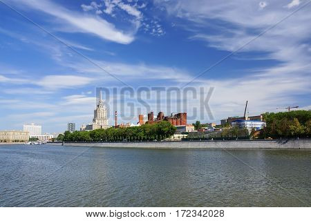 MOSCOW, RUSSIA-June 2015. Taras Shevchenko Embankment. Radisson Royal Hotel, Government House and the old building Badaevsky brewery.