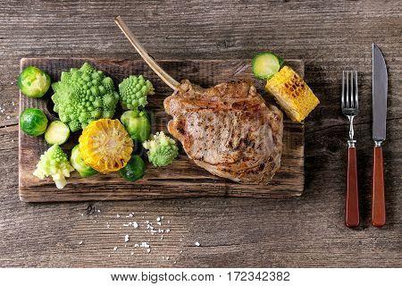 Grilled Veal Steak With Vegetables