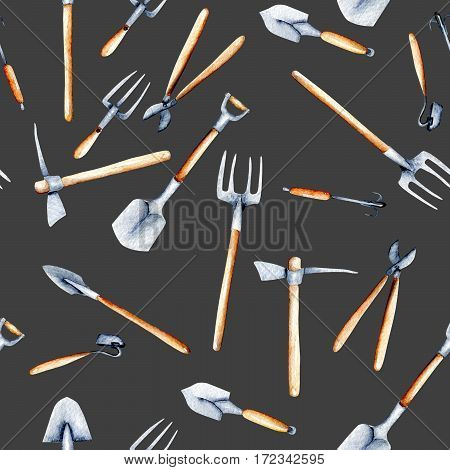 Seamless pattern with watercolor objects of garden tools, hand drawn isolated on a dark background