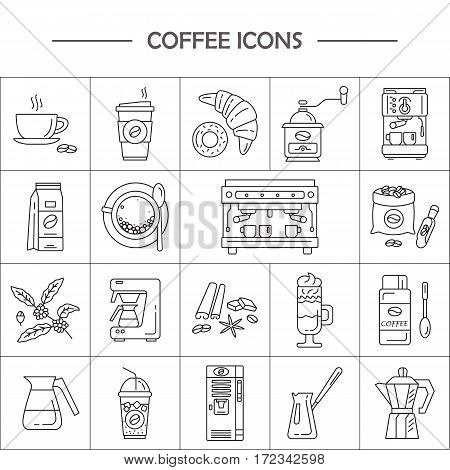 Outline web icon set . Elements - mocha pot coffee mill latte vending plant iced coffe cup cezve coffe machine. Vector line icons of coffeemaking equipment.