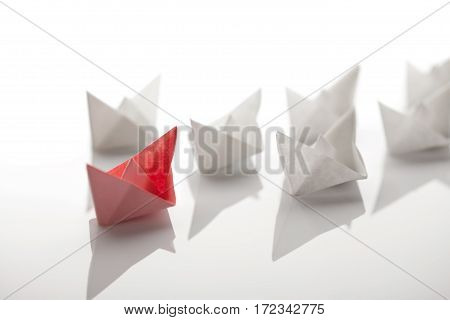 Origami paper ship on white background with Clipping Path