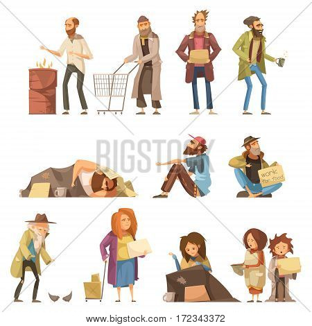 Set of homeless people including adults and kids begging money and needing help isolated vector illustration