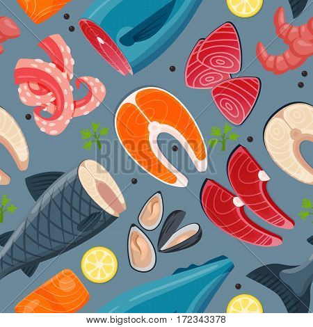 Seafood flat tasty cooking delicious vector illustration seamless pattern