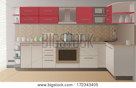 Modern style realistic kitchen interior create for presentation catalog or advertising in magazine vector illustration