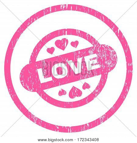 Love Stamp Seal grainy textured icon for overlay watermark stamps. Rounded flat vector symbol with scratched texture. Circled pink ink rubber seal stamp with grunge design on a white background.