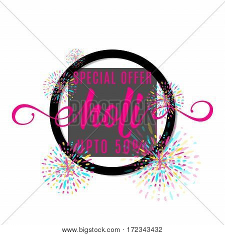 Vector illustration of holi festival of colors banner sale with lettering text sign in black round shape frame, colorful explosion with grunge rays isolated on white background