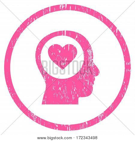 Love Thinking Head grainy textured icon for overlay watermark stamps. Rounded flat vector symbol with scratched texture. Circled pink ink rubber seal stamp with grunge design on a white background.
