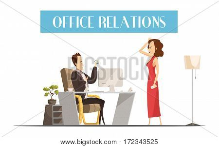 Office relations cartoon style design with attractive woman in red dress in room of boss vector illustration