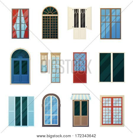 Muntin wood and metal bars window panels flat icons set with round and rectangular elements isolated vector illustration