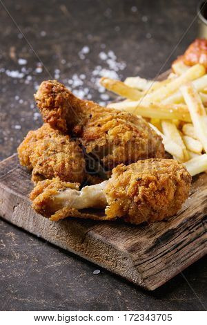 Crispy Chicken Legs And French Fries