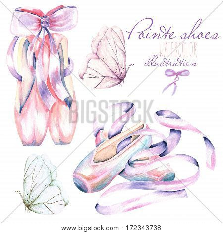 Set, collection of watercolor pointe shoes and butterflies illustration, hand drawn isolated on a white background