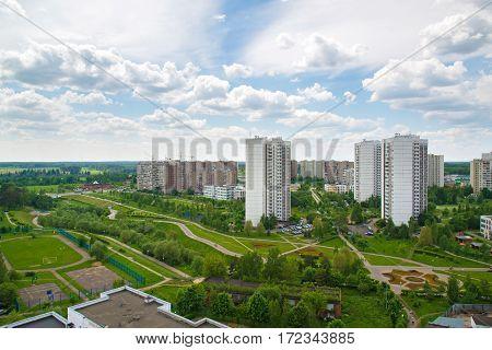 Top view of the boulevard in Zelenograd, Russia