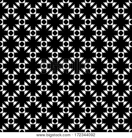 Vector monochrome seamless pattern. Black & white geometric texture. Modern stylish background, repeat tiles. Endless dark abstract backdrop with dotted diagonal lines. Design for decoration, furniture, textile, fabric, web