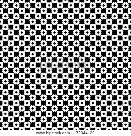 Vector monochrome seamless pattern. Black & white geometric texture. Modern stylish geometrical background, repeat tiles. Endless abstract backdrop with circles, crosses. Square design element