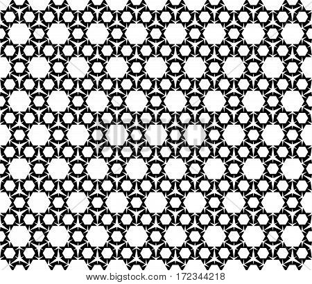 Vector monochrome seamless pattern. Black and white repeat ornamental texture. Simple geometric figures, hexagons & triangles. Modern stylish abstract background. Design for prints, decor, clothes, furniture
