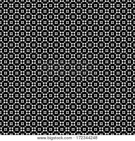 Vector monochrome seamless pattern, geometric texture, white rounded figures, crosses, squares, triangles on black backdrop. Modern abstract repeat background. Design for prints, decoration, textile, digital, web