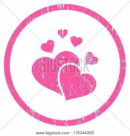 Lovely Hearts grainy textured icon for overlay watermark stamps. Rounded flat vector symbol with scratched texture. Circled pink ink rubber seal stamp with grunge design on a white background.