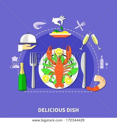 Restaurant dishes composition with waiter hands in gloves flatware food and drinks flat images and icons vector illustration