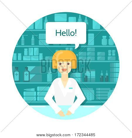 Colored flat pharmacist round composition with consultant at the counter in drugstore vector illustration