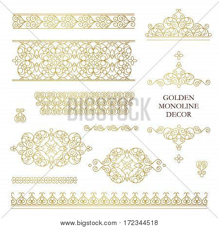 Vector set of line art frames vignettes for design template. Element in Eastern style. Golden outline floral borders. Mono line decor for invitations greeting cards certificate thank you message.