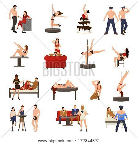 Exotic dancer icon set with girl dance striptease she are a stripper vector illustration