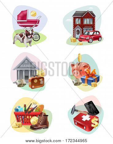 Colored and isolated financial expenses icon set people spend the most money for the needs description vector illustration