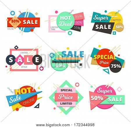 Colored and isolated sale material design geometric icon set with super sale and special price descriptions vector illustration