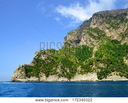 Coastal rocks of Capri island - Campania region of Italy, Europe.