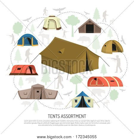 Camping tents for every purpose and capacity including tunnel dome pyramid models circle composition advertisement poster vector illustration