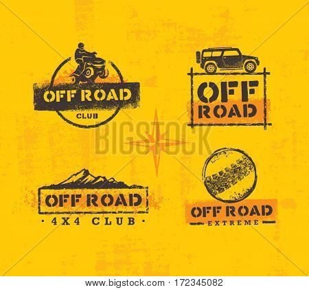 Off Road Park ATV Creative Vector Sign Set. Extreme Adventure Design Element On Grunge Wall Background.