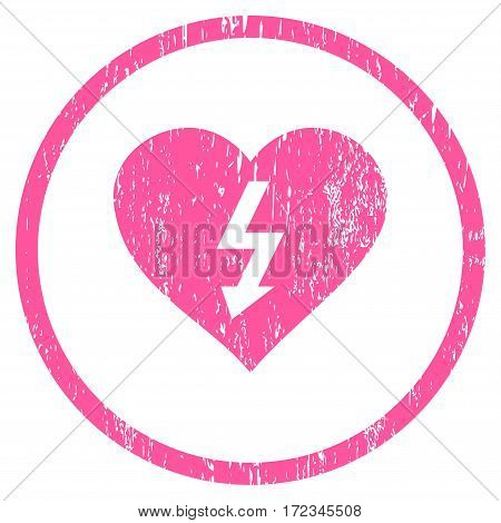 Power Love Heart grainy textured icon for overlay watermark stamps. Rounded flat vector symbol with dirty texture. Circled pink ink rubber seal stamp with grunge design on a white background.