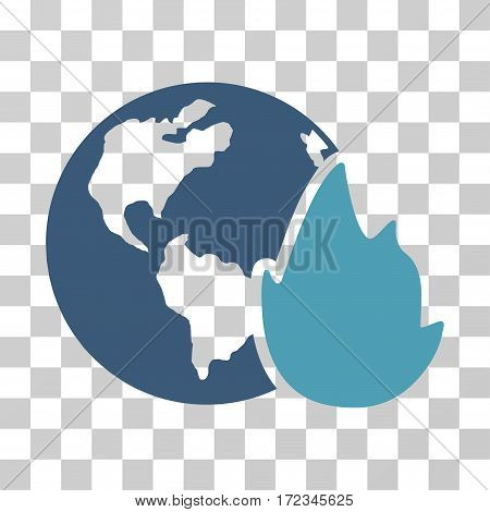 Planet Flame vector pictograph. Illustration style is flat iconic bicolor cyan and blue symbol on a transparent background.
