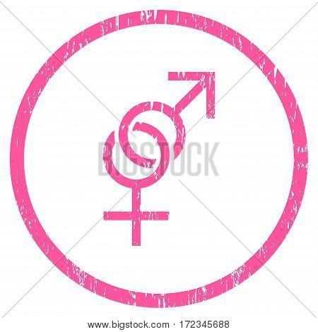 Sex Symbol grainy textured icon for overlay watermark stamps. Rounded flat vector symbol with dirty texture. Circled pink ink rubber seal stamp with grunge design on a white background.