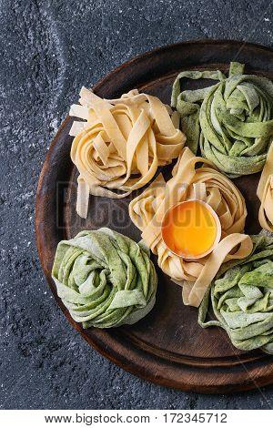 Colored Fresh Homemade Pasta Tagliatelle