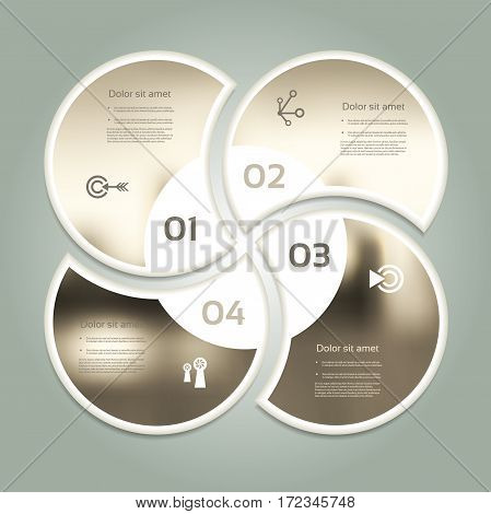 Vector circle infographic. Template for diagram graph presentation and chart. Business concept with four options parts steps or processes. Abstract background. eps 10